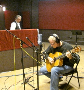 Shambhu recording with Stephen Hart in background.