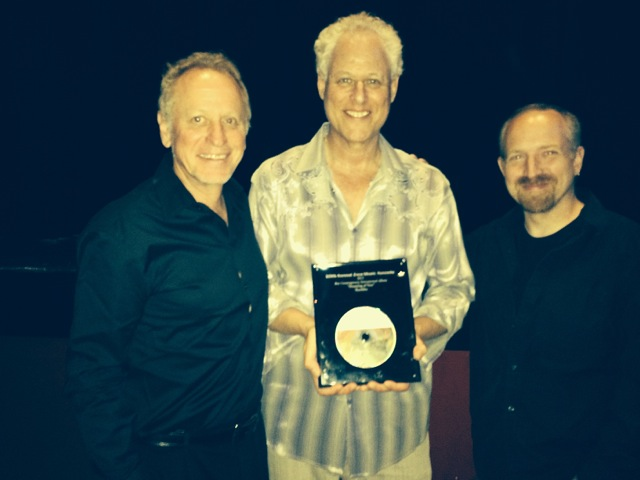 Shambhu with co-producers Will Ackerman and Thomas Eaton.